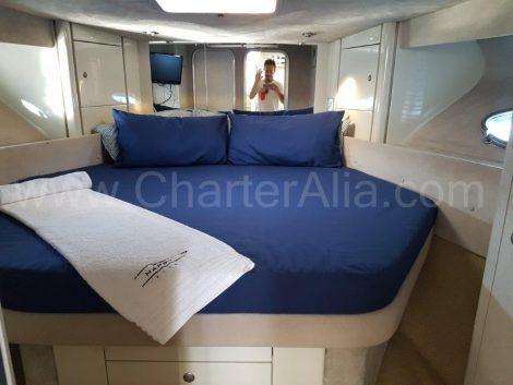 Hauptschlafzimmer Sunseeker Yachtcharter Ibiza
