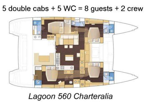 Lageplan Lagoon 560 5 Kabinen 5 Toiletten 2 crew