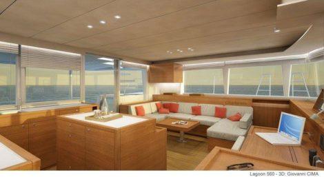 Spektakulaere Lounge der Yacht Lagoon 560 zu mieten