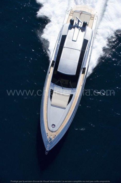 Himmelansicht der Canados 90 Luxusyacht Ibiza
