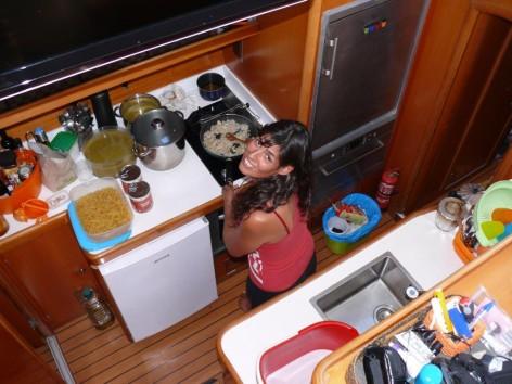 Galley luxury catamaran Ibiza