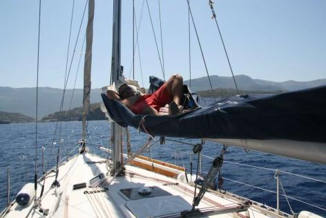 Lying on the boom in Ibiza