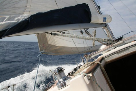 Sailing boat Dufour 38 sailing upwind