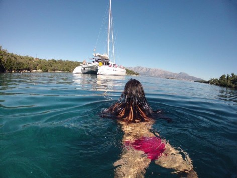swimming back to Ibiza boats