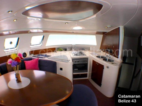 lounge and kitchen Fountaine Pajot Catamaran Ibiza