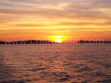 Sunset from boat San Antonio Ibiza