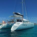 back of catamaran Lagoon 380 anchored in Ibiza