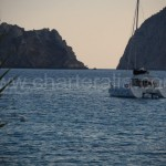 catamaran anchored at Es Vedra southwest of ibiza island