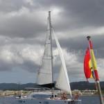 catamaran lagoon 380 sailing with jib and main sail