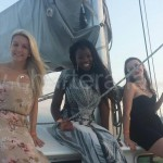 dressed up ladies on a hen do on a boat ibiza