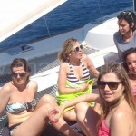 girls on net on catamaran ibiza