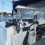 helm of catamaran Lagoon 380 ibiza