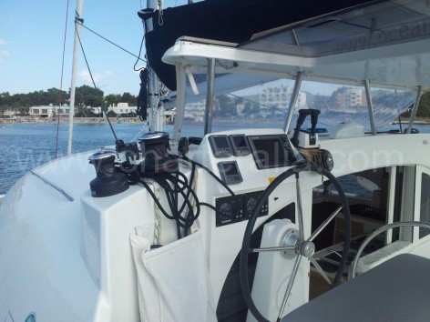 helm of catamaran Lagoon 380 ibiza