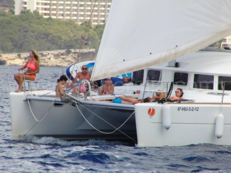 jib sailing on catamaran