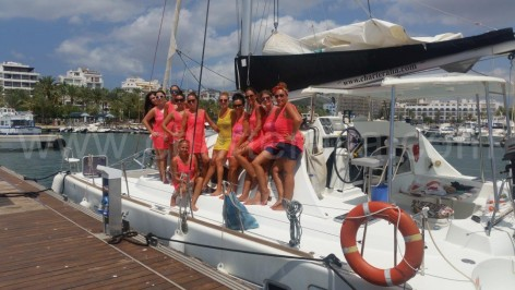 local girls on a ibiza hen party on catamaran