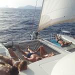 sailing around ibiza on catamaran