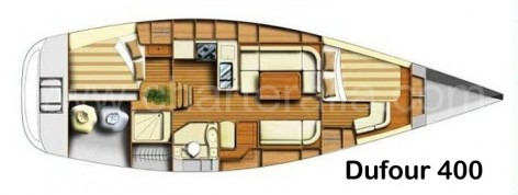 Layout map Dufour 400 sailing boat for rent in Ibiza