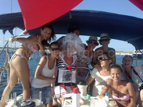 Ibiza hen do sailing boat