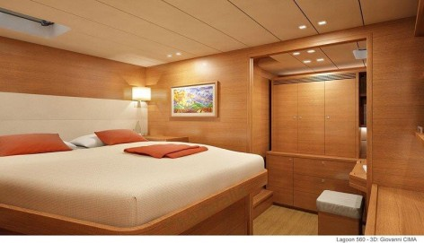 King size bed on Lagoon 560 Mediterranean