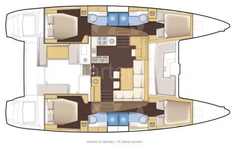 Layout map Lagoon 450 catamaran