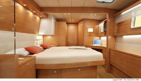 Luxury cabin with bathroom inside Lagoon 560 catamaran for charter in ibiza