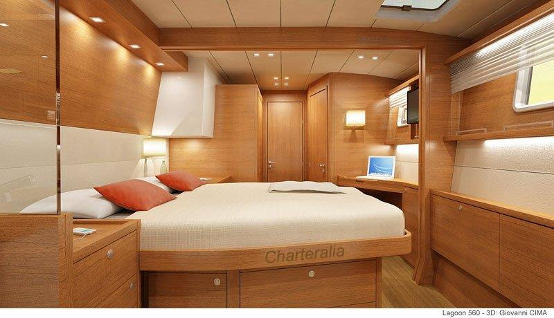 Luxury Cabin With Bathroom Inside Lagoon 560 Catamaran For Charter In Ibiza