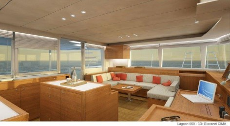 Spectacular lounge of the Lagoon 560 yacht for hire