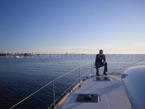 bow pulpit lagoon 400 s2 sail catamara for rent in ibiza