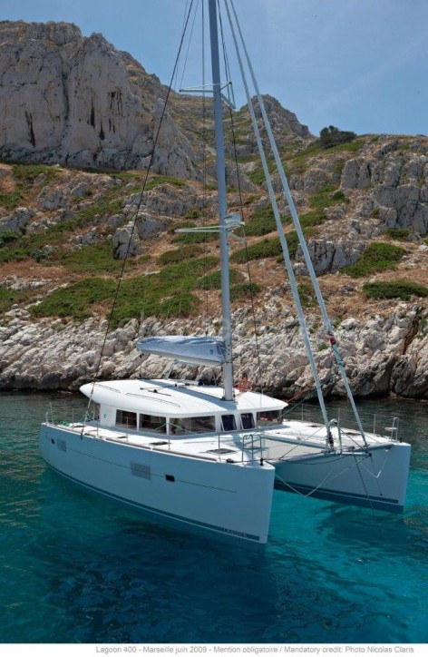 charter catamaran anchored formentera