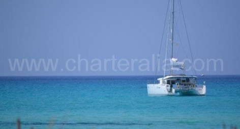 charter catamaran at anchor in Mallorca