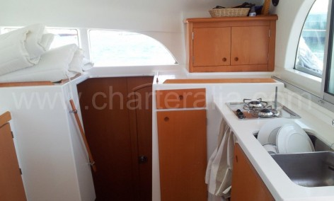 galley on a rental boat in ibiza