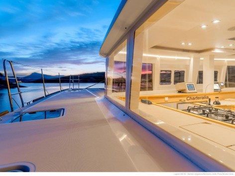 large side space on luxury catamaran for hire in ibiza