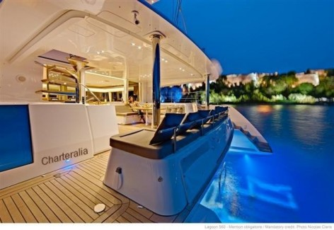 lights at night on the rental catamaran in Ibiza