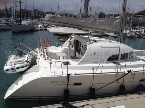 rental catamaran in ibiza lagoon 380 side view