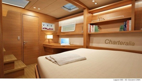 stern cabin catamaran with bookshelf