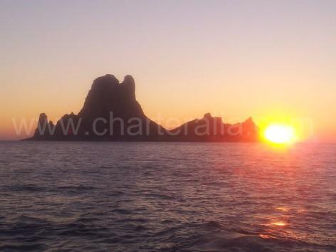Amazing sunset in Ibiza at Es Vedra