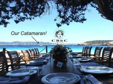 Calabassa Beach Club and catamaran