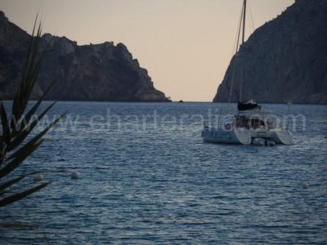 Catamaran anchored at Es Vedra south