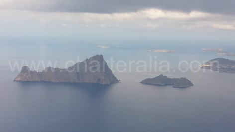 Picture of Es Vedra and Cala Dhort from air