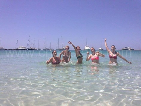 Swimming at Espalmador beach Formentera