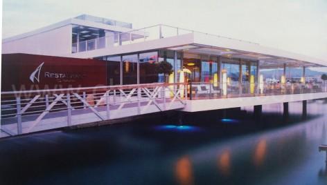 The restaurant of the yacht club Es Nautic at San Antonio