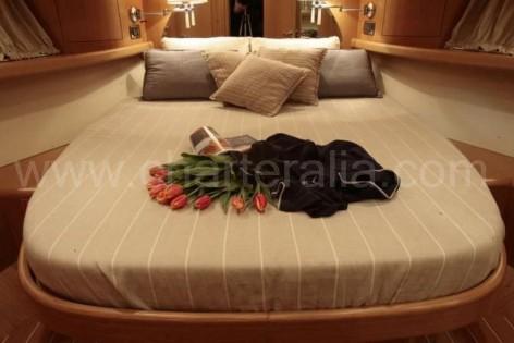 Double bedroom on board of the Portofino 46 Sunseeker