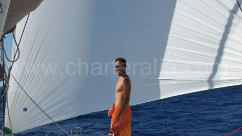 Gennaker sail on the catamaran Lagoon 450 in Ibiza