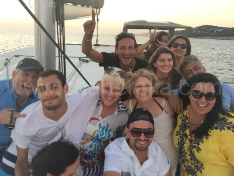 Happiness on board of the catamaran in Ibiza
