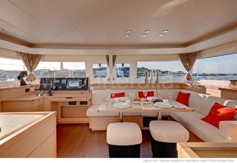 Interior of the Lagoon 450 that is rented in Ibiza and Formentera