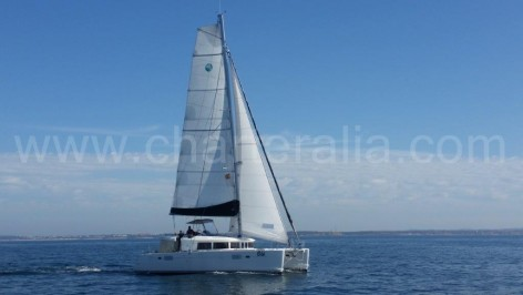 Lagoon 450 catamaran sailing by Ibiza