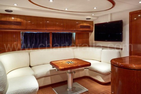 Living room of the Alfamarine luxurious yacht