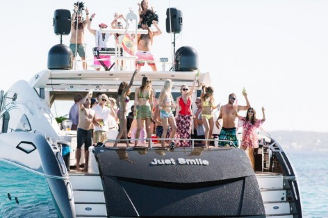 Party at the yacht for rent in Ibiza