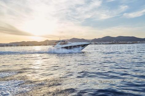 Portofino Sunseeker yacht at full speed in Ibiza