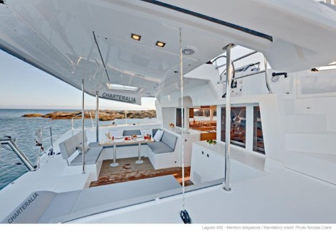The stern deck of the Lagoon 450 with air conditioning sailing in Ibiza